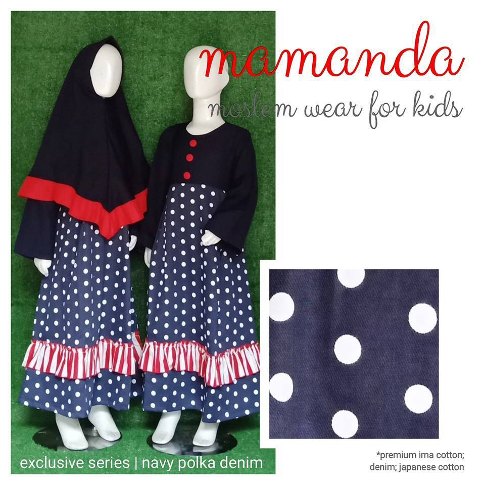 Gamis Anak Mamanda Navy Polka Denim (Exclusive Series)