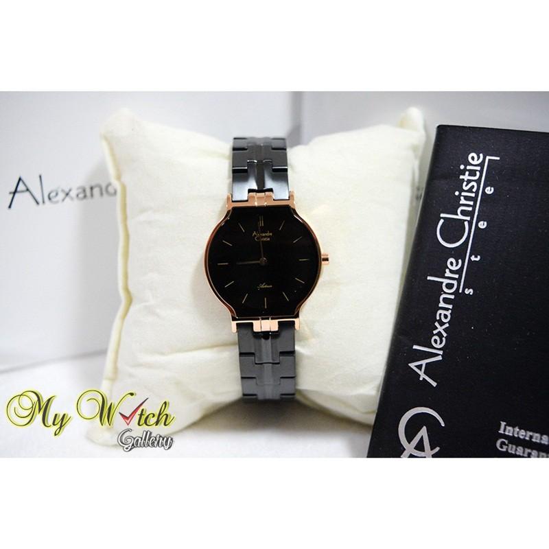 Jam Tangan Wanita Alexandre Christie 8410 Black Rosegold/ Alexander Christie Wanita AC 8410 Original
