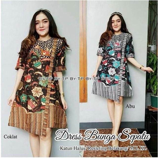 Dress Bunga Sepatu   Dress Batik Kantor   Tunik Batik Kerja   Seragam Batik  Modern 8a62a64947
