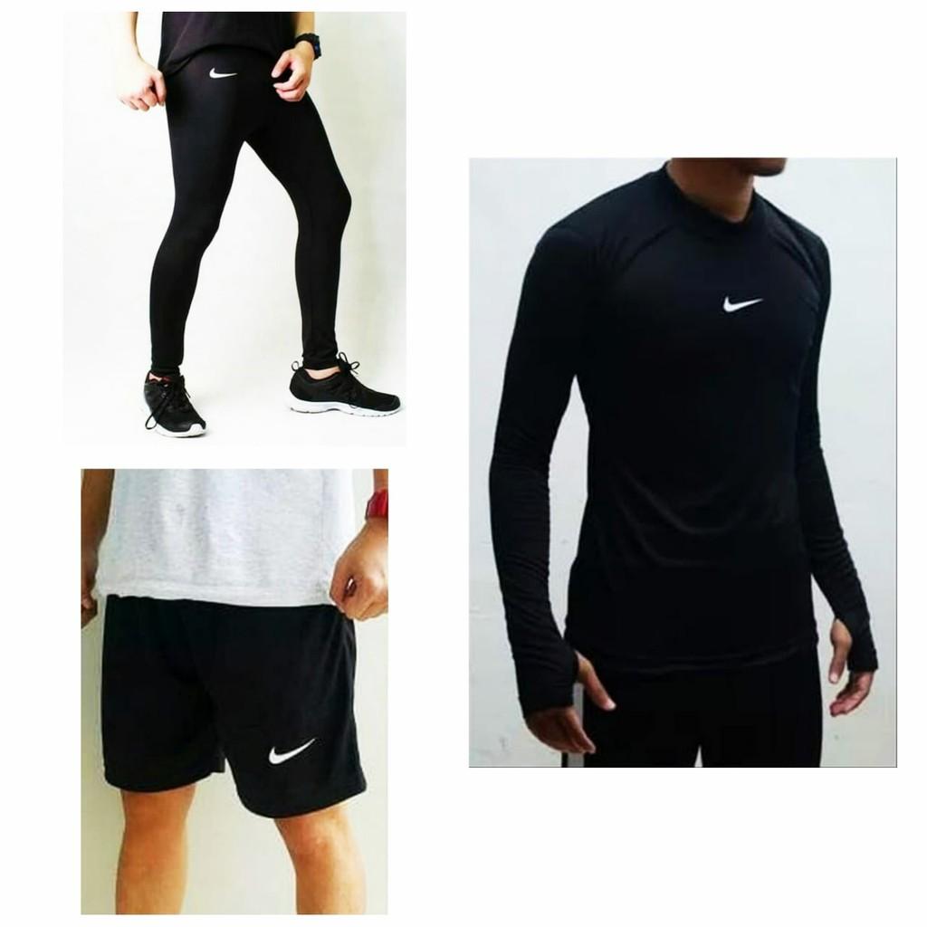 Paket Hemat Stelan Pakaian Olahraga Manset Baselayer Pria Wanita Legging Panjang Celana Pendek Shopee Indonesia