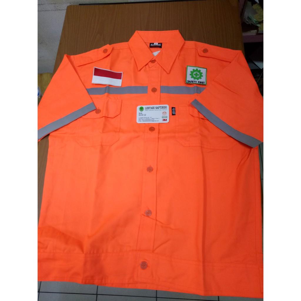 Baju Safety Atasan Biru Bca Merk Amel Pakai Logo K3 Merah Putih Reon T Shirt Xl Shopee Indonesia