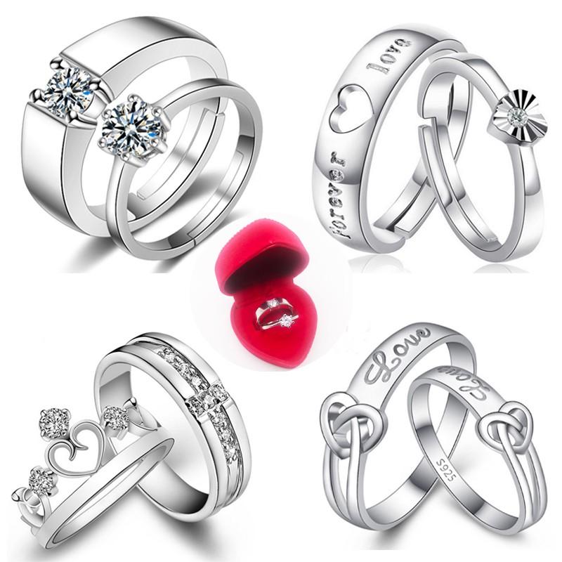 Berlian Cincin Couple Titanium Perhiasan Perak Pria/Wanita ...