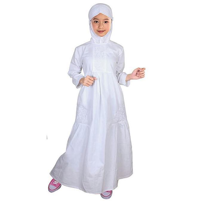 Fayrany Busana Muslim Anak Gamis Putih Fgp-005 - Bordir Warna | Shopee Indonesia