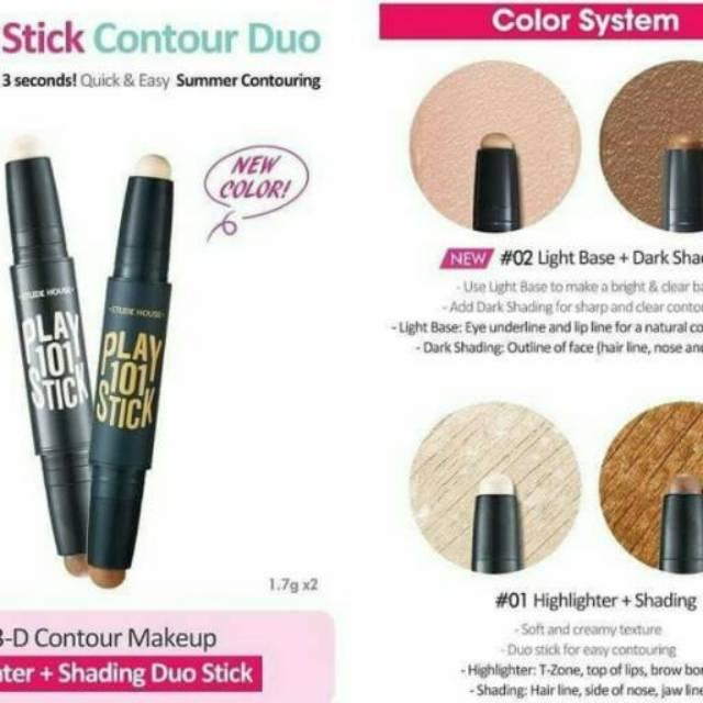 [Etude House] Play 101 Stick Contour Duo (Light Base & Dark Shading) Multi Stick 02 | Shopee Indonesia