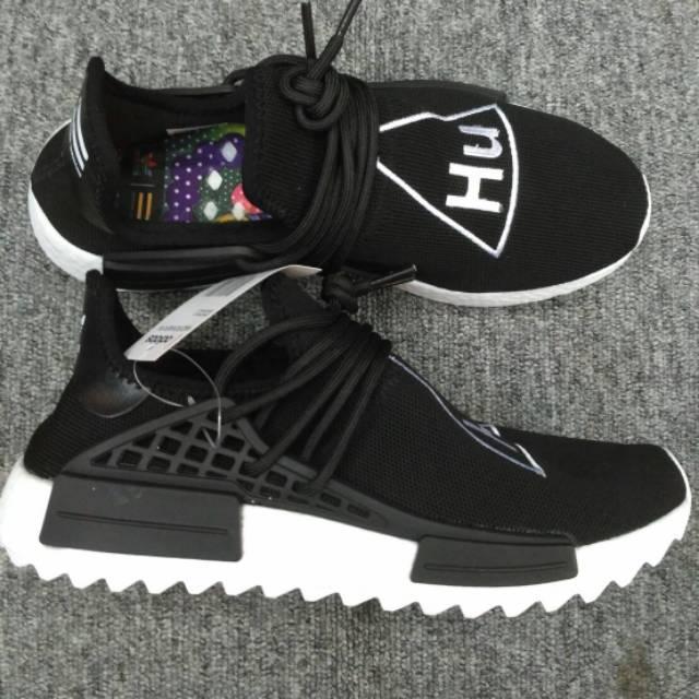 dcbe49810 Sepatu Pria Adidas NMD Pharrell Williams Human Race X Supreme Black White  Premium