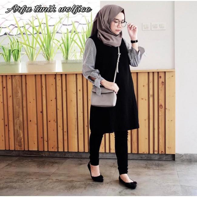 Baju Tunik Wanita Aliya Long Tunic Atasan Muslim Fit L Bahan Balotelli  Terbaru  15af694724