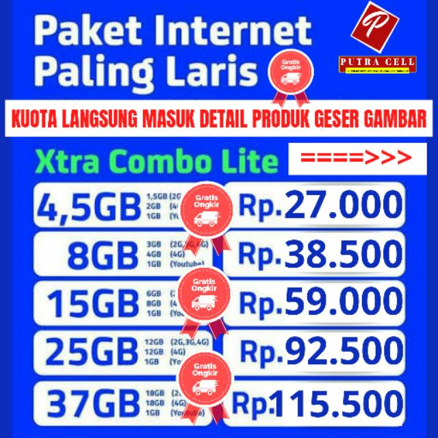 Harga Promo Paket Data Xl Extra Combo Lite 4 5gb 8gb 15gb 25gb 37gb Kuota Langsung Masuk Shopee Indonesia