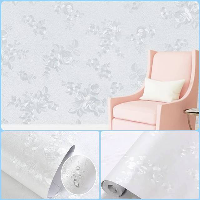 Wallpaper Sticker Dinding Putih Polos Bertekstur Bunga Shopee