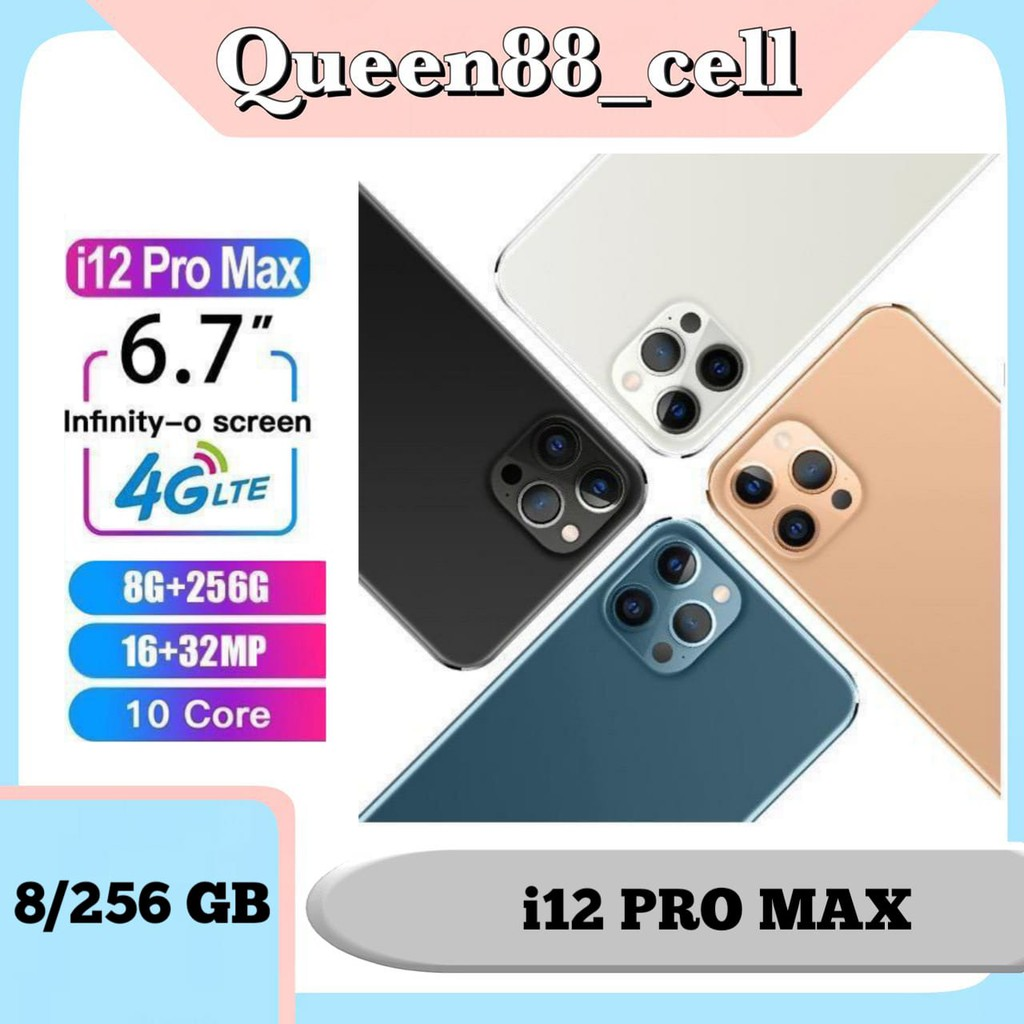 "HP i12ProMax RAM 8GB & ROM 256GB Jaringan handphone 4G Smartphone 6.7"""