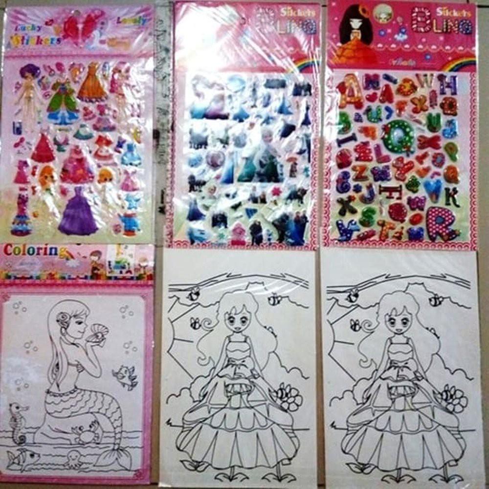 Sticker Dan Mewarnai Gambar Mainan Anak Perempuan