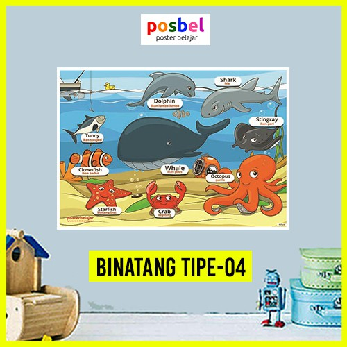 Poster Gambar Binatang Laut untuk Edukasi Anak Balita Paud ...