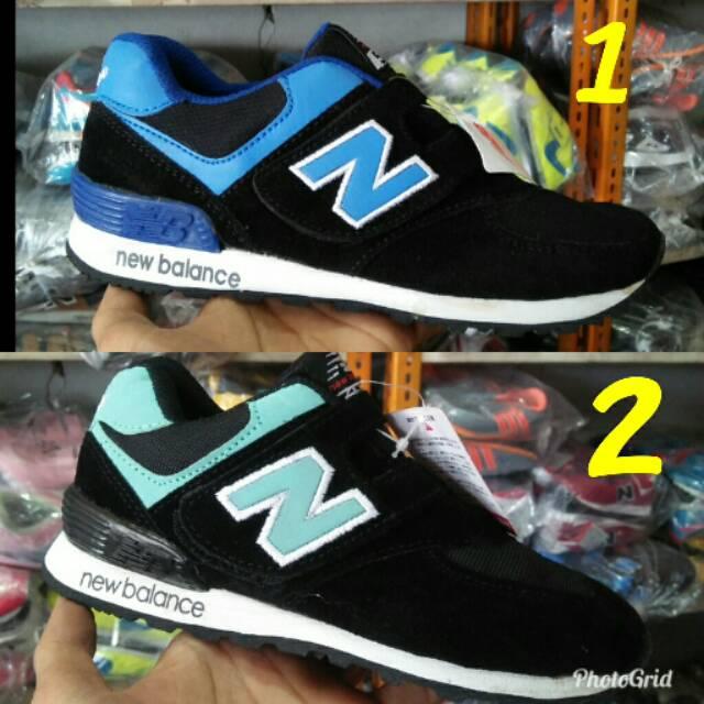 fffa4398974 Sepatu nb anak hitam 574 grade original sneakers anak model terbaru 32-37