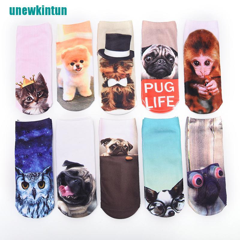Details about  /Cute Women Men Unisex 3D Cartoon Funny Dog Animal Printed Low Cut Ankle SocFBJB