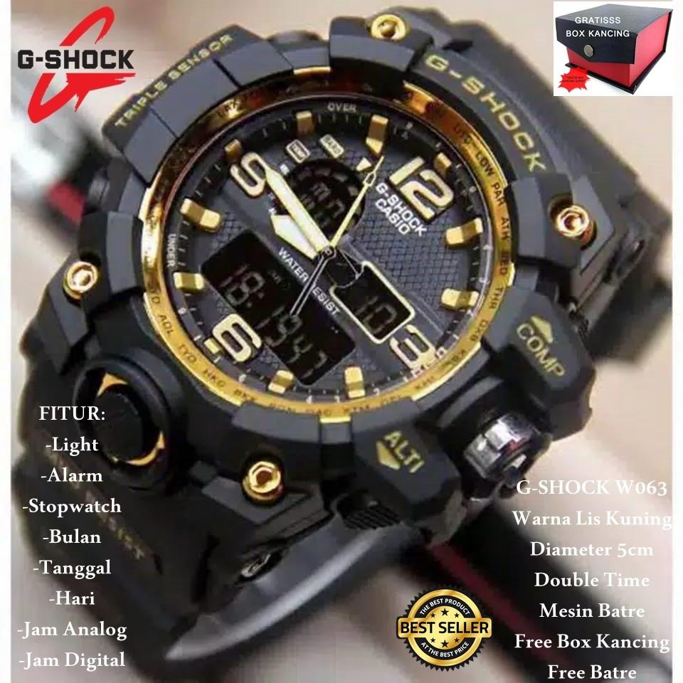 Promooo Best Seller Jam Tangan Pria G Shock W048 Original Dual Casio Dobel Time Tahan Air Black List Orange Shopee Indonesia