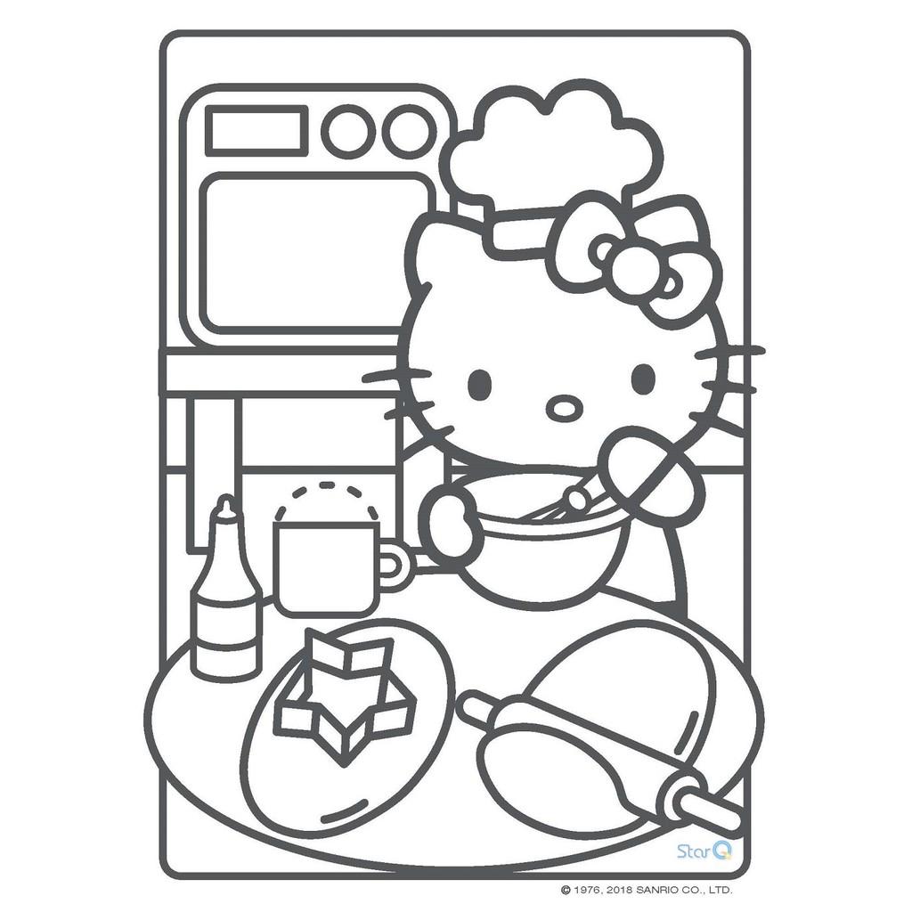 Buku Mewarnai Desain Hello Kitty Warna Warni