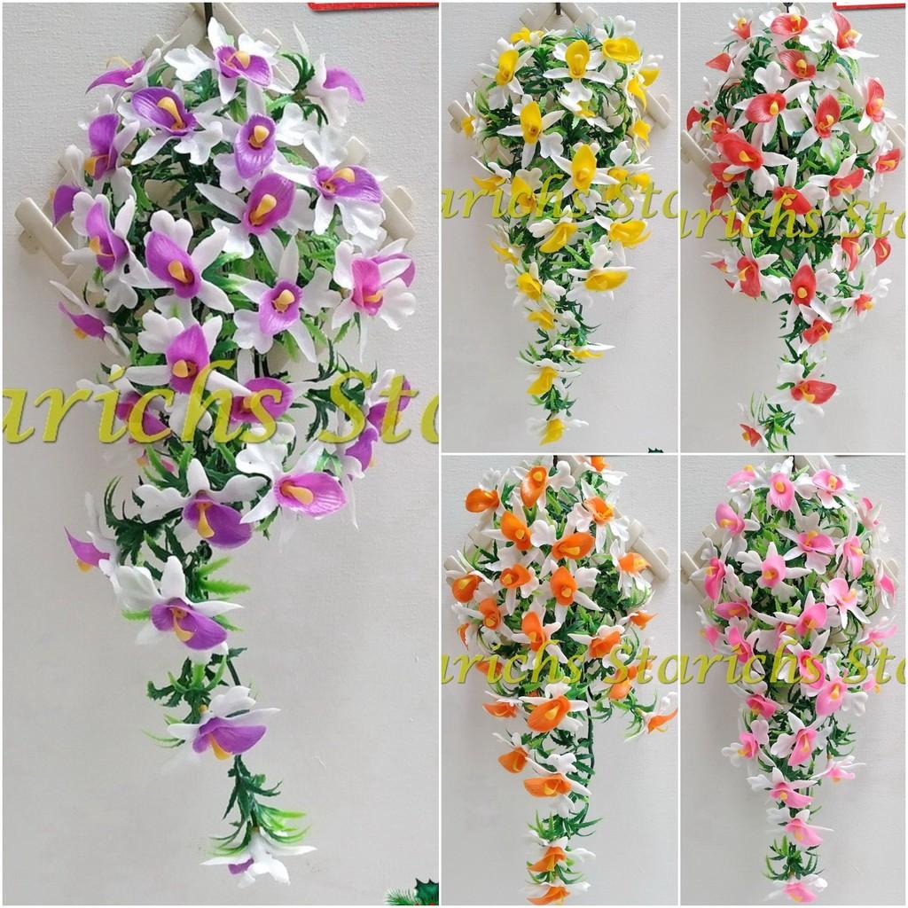 Rambat Bunga Anggrek Artificial Hiasan Bunga Plastik Hiasan Dinding Interior Rumah Dan Kantor Baru Shopee Indonesia