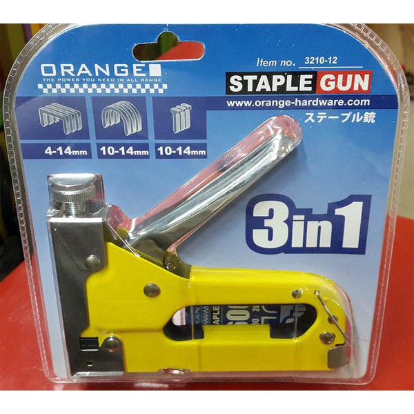 3 In 1 Orange Stapler Staple Gun / Tembak Gun Tacker 4mm S/d 14mm