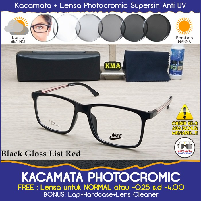 Frame Kacamata Hitam Korea Pria Wanita Design P6001 - Lensa Plus   Minus  Anti Radiasi Photocromic  eef169423b