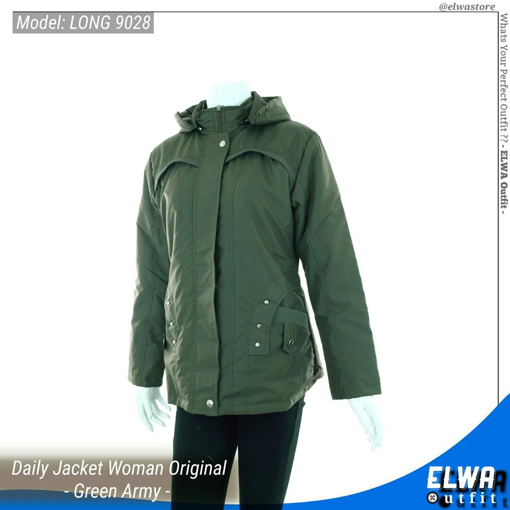 NEW LONG 9028 Jaket Harian Wanita Jaket Motor Cewek Original Distro Waterproof - Green Army | Shopee Indonesia