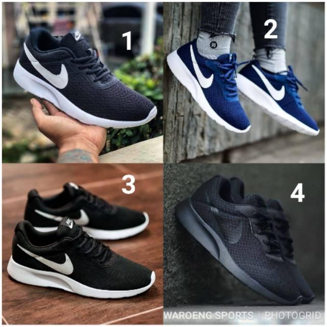 Sepatu Nike Tanjun Trainer Running Men Cowok Black Blue Man Hitam Pria