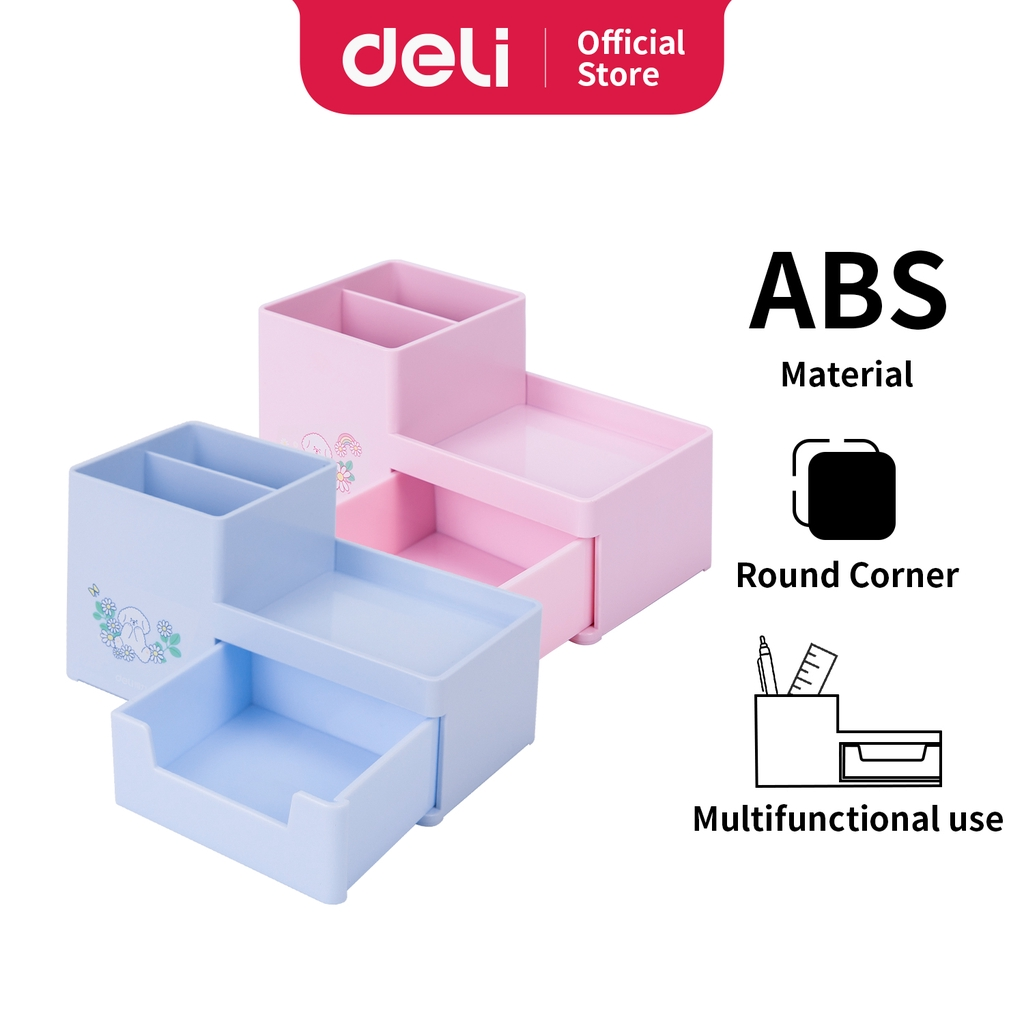 Deli Desk Organizer Kotak Penyimpanan Pulpen Pensil Biru ...