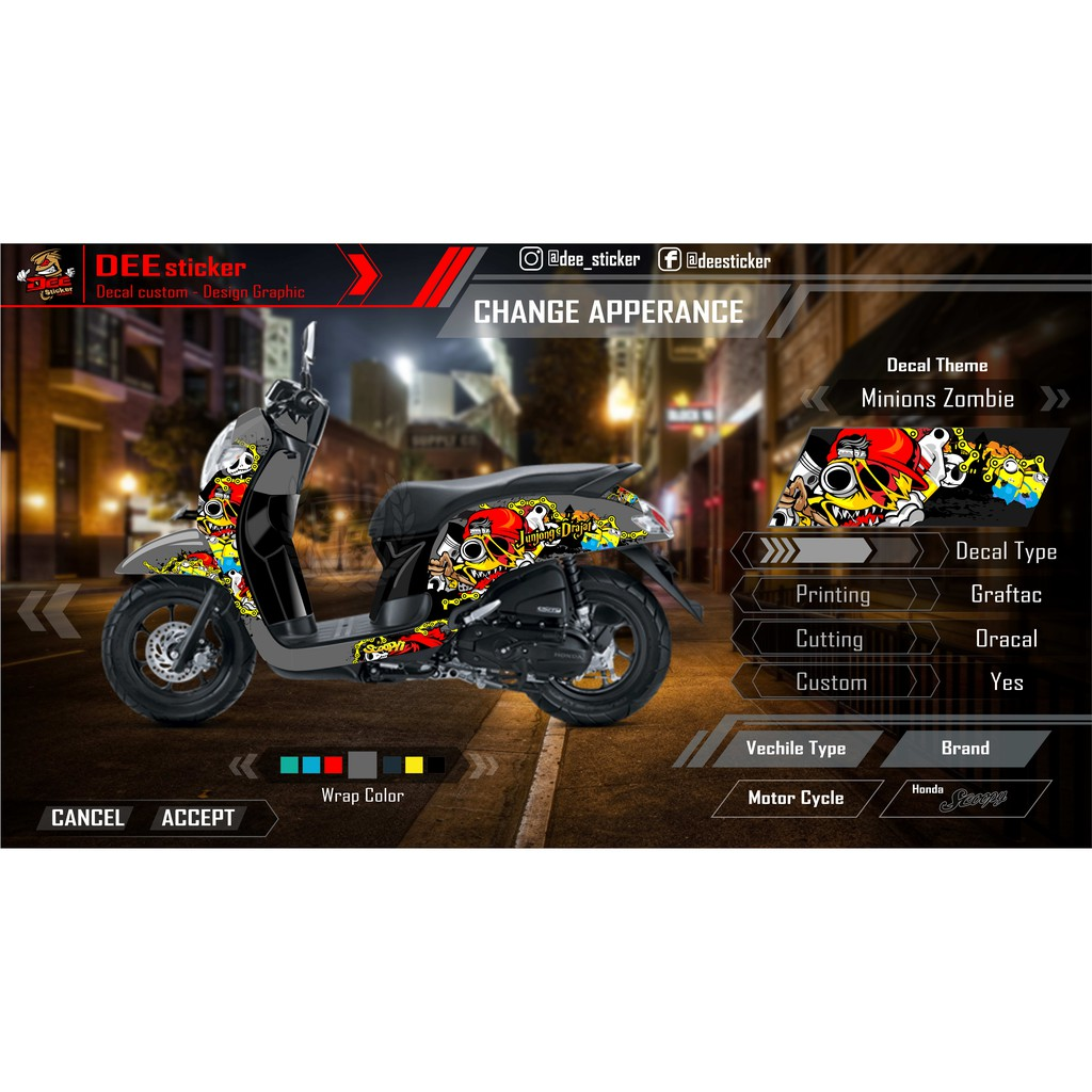 Striping decal fullbody laminasi new scoopy fi 2016 2018 mario bros zombie bisa custom background shopee indonesia