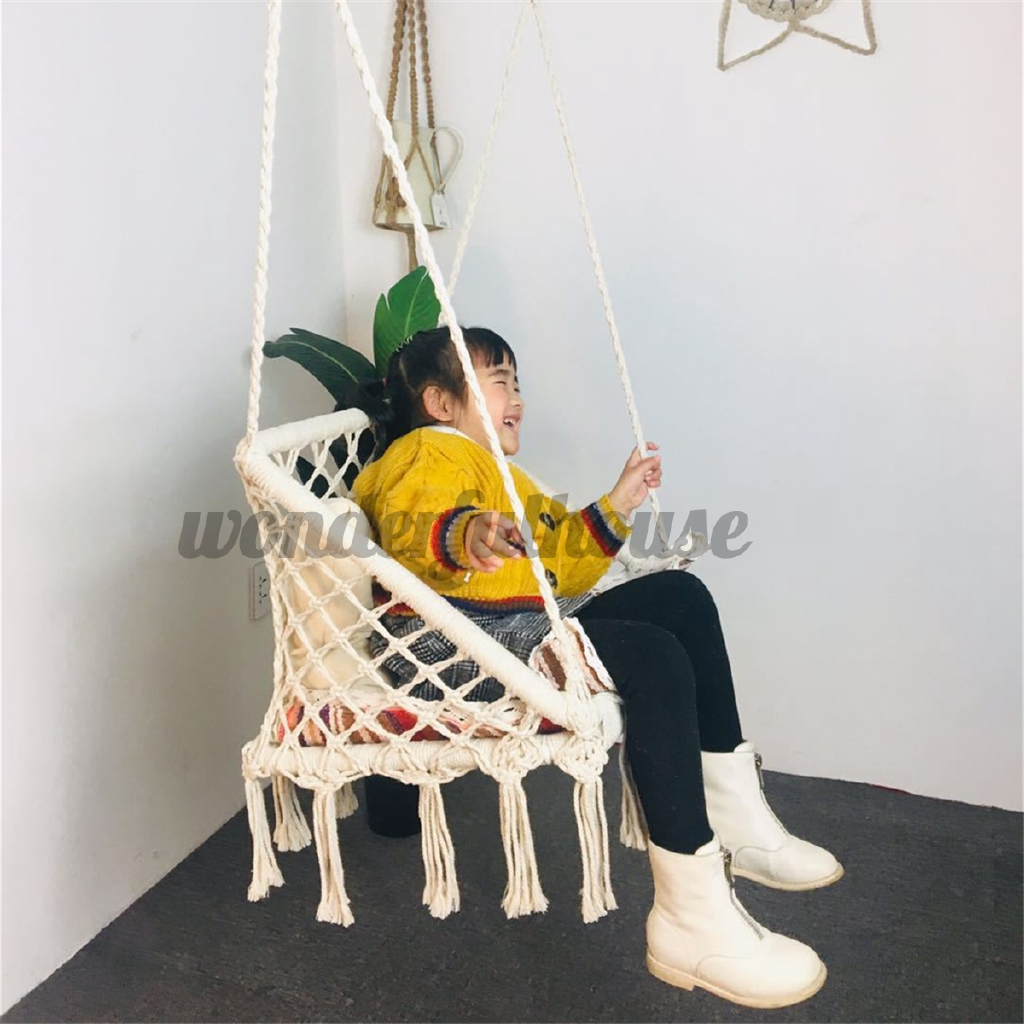 Homestay Style Knitted Macrame Hammock Chair Hanging Cotton Rope Hammock Tassel Swing Porch Shopee Indonesia