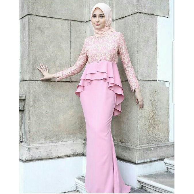 Ready Stok Samira Dress Brukat Glitter Mewah Rok Duyung Mermaid Gaun Pesta Panjang