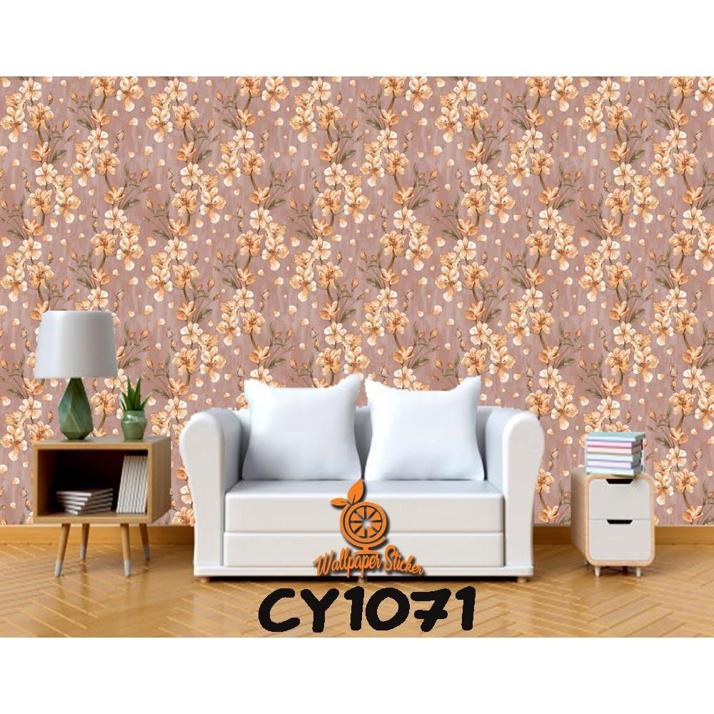 Walpaper Sticker Dinding Motif Nature Melati Coklat CY1071