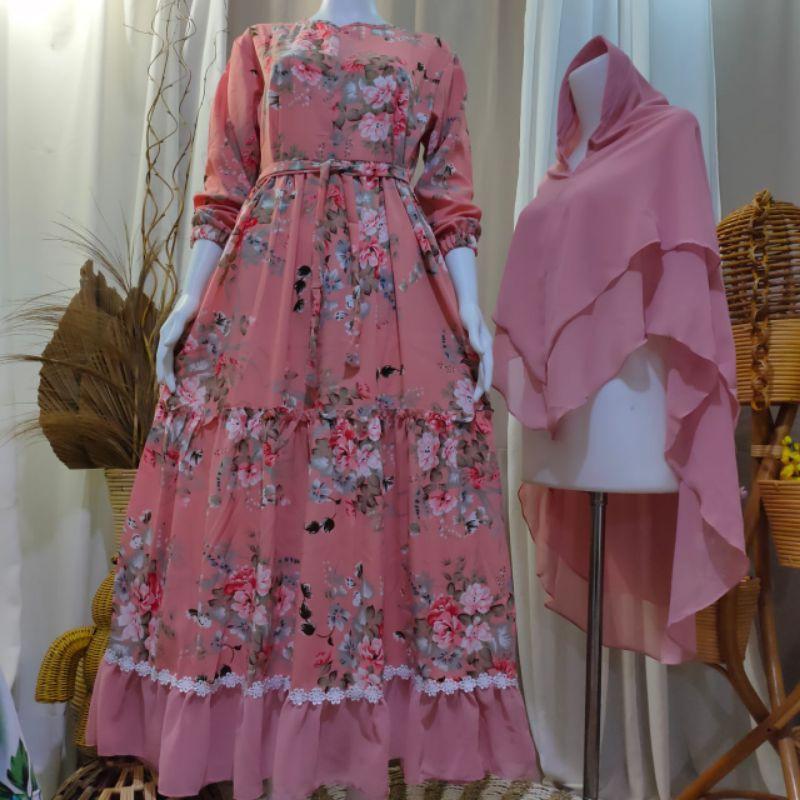 Terlarisss Gamis Monalisa Premiuam Gamis Syar I Monalisa Renda Melati Motif Bunga Sakura Shopee Indonesia