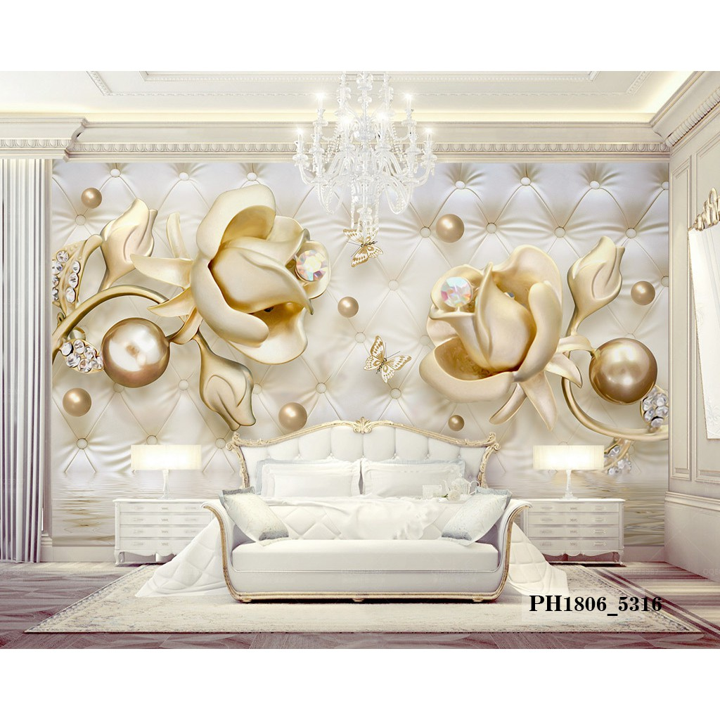Wallpaper Dinding Custom Bunga 3D Wallpaper Custom Murah 3D