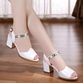 Cafana Sandal Wanita High Heels Hak Tahu Permata SDH168 Putih Heels