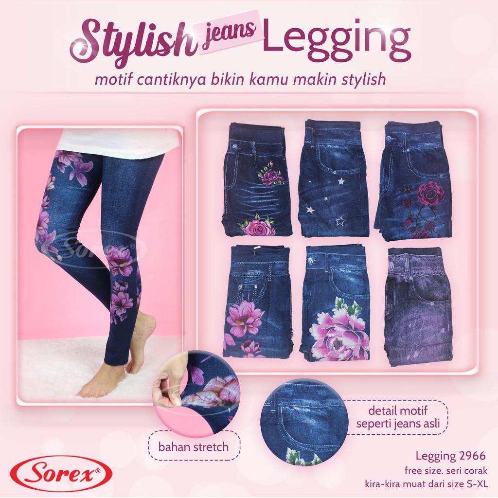 Celana Legging Sorex 2966 Motif Panjang Leging Panjang Jeans Dewasa Gd Shopee Indonesia