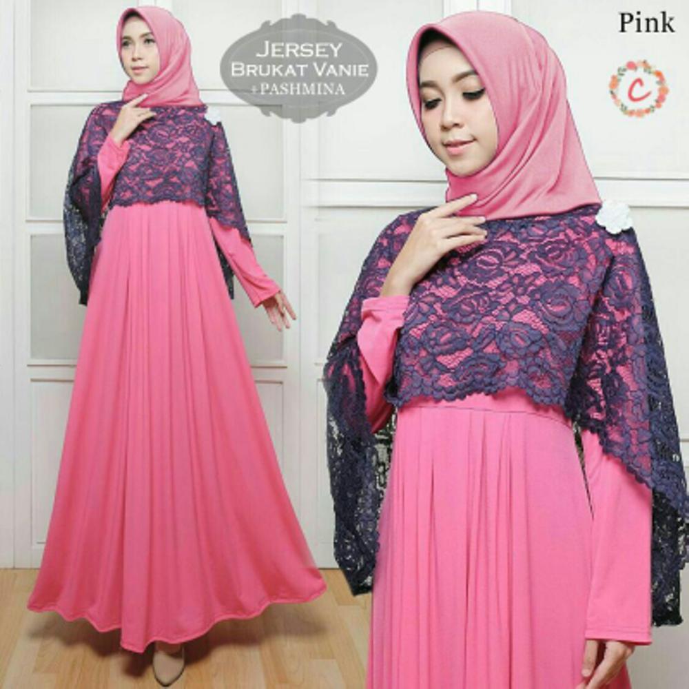 TERBARU Baju Pesta Muslim Nibras NL 01 Pink Busana Muslim Terbaru ... 73c265afc3