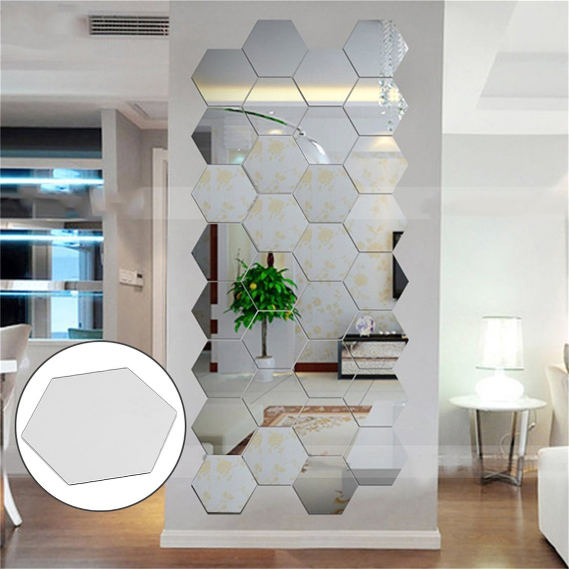 Just Hexagonal 3d Mirrors Wall Stickers Home Decor Living Room Mirror Wall Sticker Shopee Indonesia