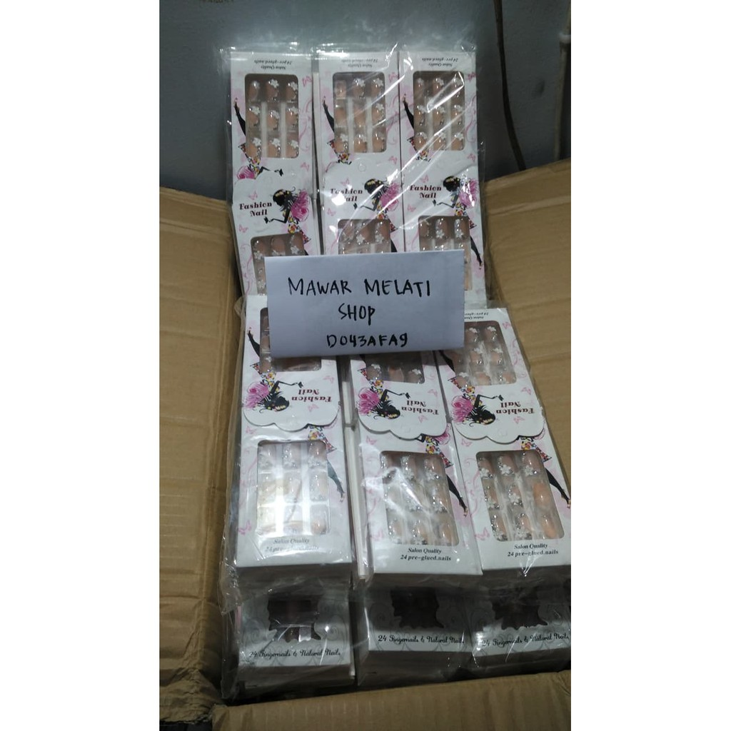 Wedding Fake Nail Flowers Rhinestone Kuku Palsu Pernikahan 3d Jbs Nails Art A18
