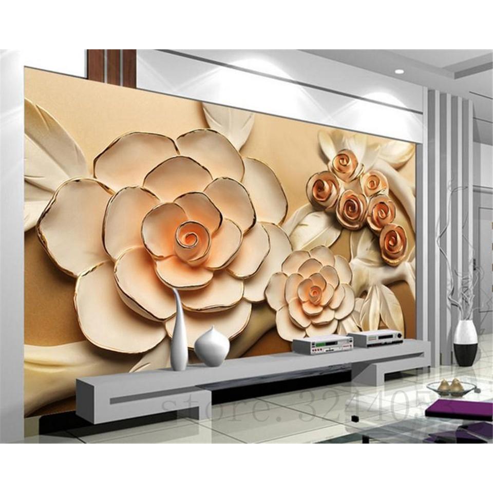 Kustom 3d Wallpaper Mewah Ruang Besar Kamar Tidur TV Latar Belakang Lukisan Dinding Naik Wallpaper