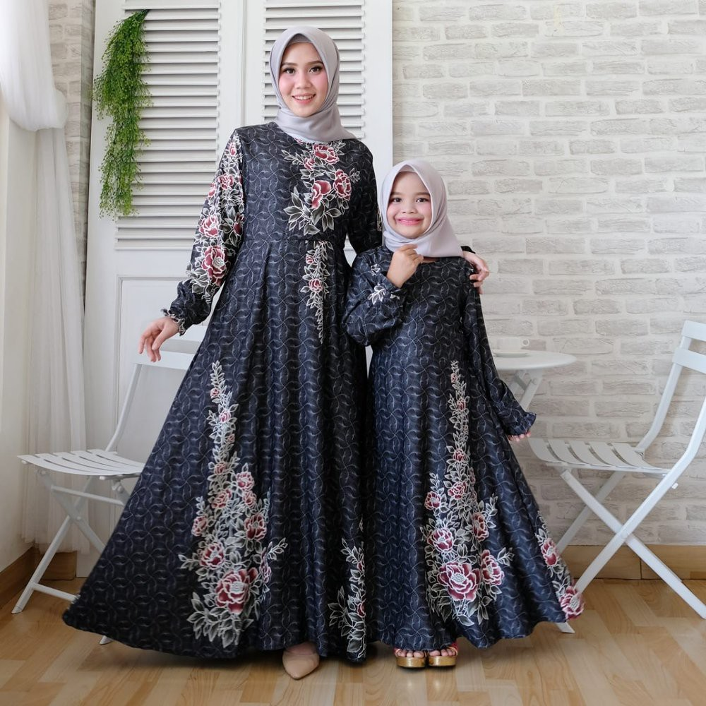 Baju gamis couple ibu anak perempuan Muslim Syari Couple Keluarga Terbaru  Milo Premium Sepasang Ibu