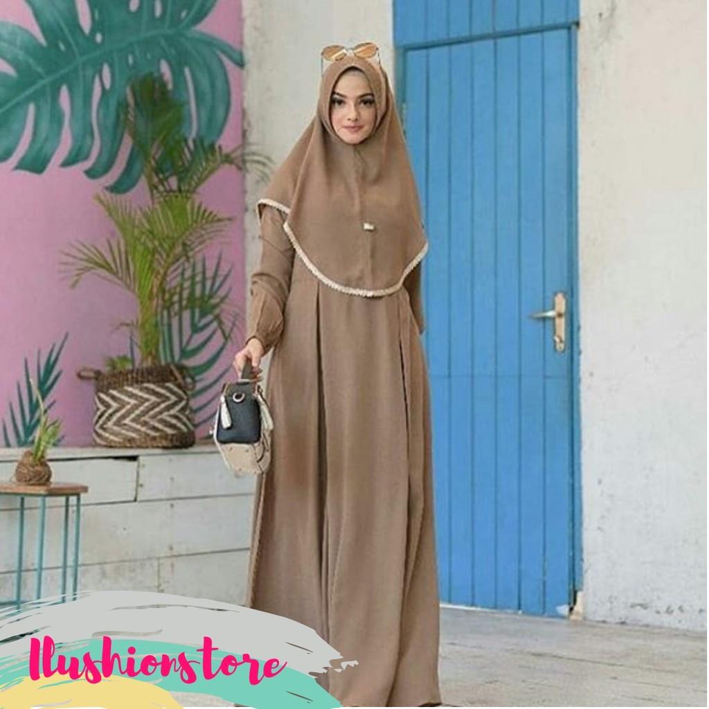 Gamis Syari 12 Set Khimar Kerudung Instant Cala Gamis Polos Gamis Cantik  Modern Baju Gamis Dewasa