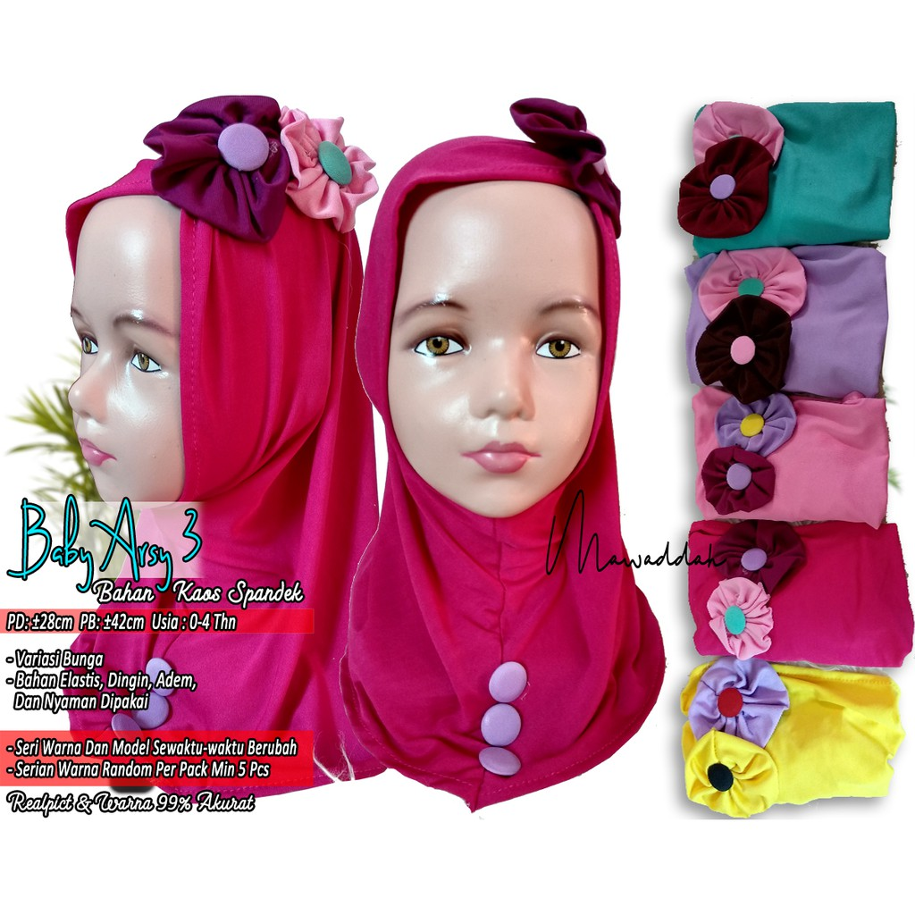 Jilbab Anak Polos Bando Bunga Balita Lucu Baby Kerudung Bayi Arsy Shopee Indonesia