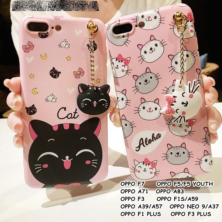 For Oppo F7 A83 F5 F5 Youth F3 A71 F1s A37 F1 Plus F3 Plus Neko Cat Softcase Casing Shopee Indonesia
