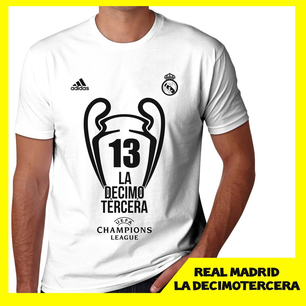 9097f8d4a Kaos Real Madrid UEFA UCL Champions 13 2018 La Decimotercera Putih UKuran S  M L XL XXL Tshirt distro | Shopee Indonesia