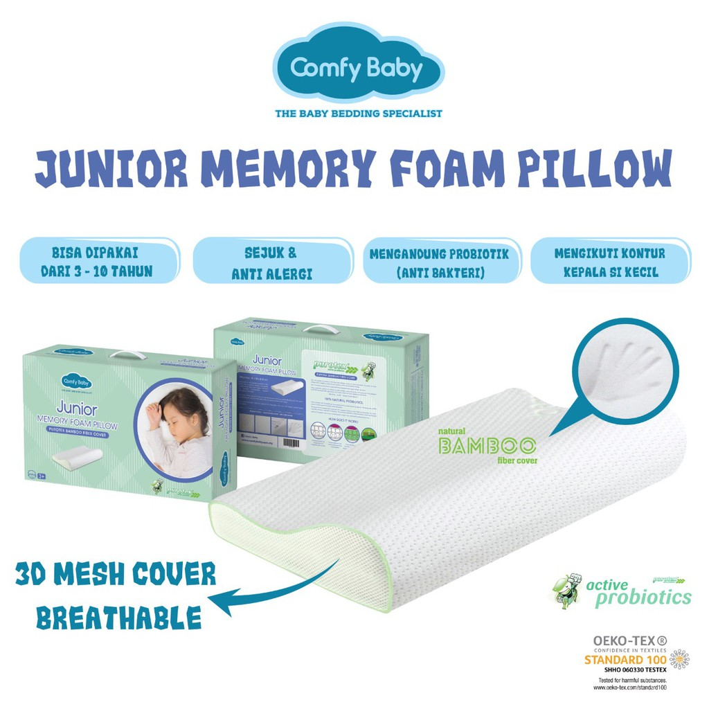 Comfy Baby Newborn Memory Foam Pillow Shopee Indonesia Sarung Bantal For Adjustable Brown