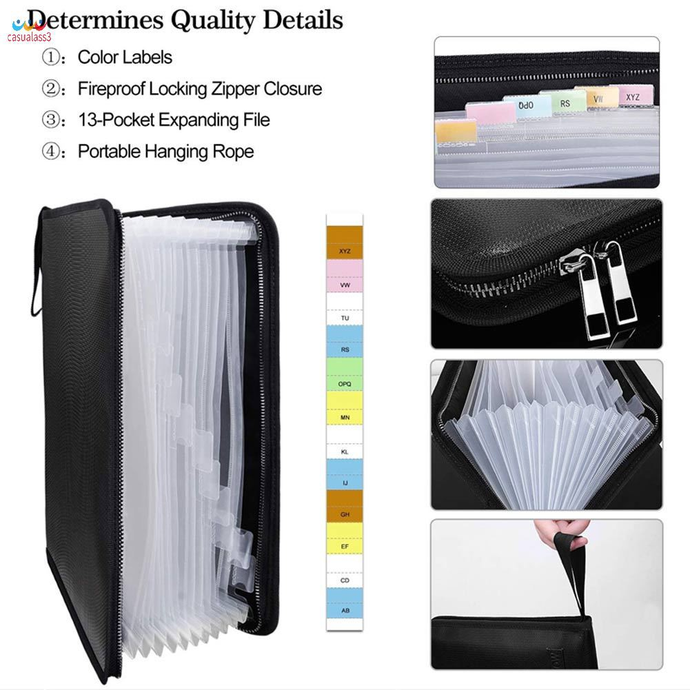 25 Pockets,Color Labels,Non-Itchy Silicone Coated Portable Filing Organizer Folder Expanding File Folder Important Document Organizer Fireproof Document Bag-A4 Size 14.3 x 9.8