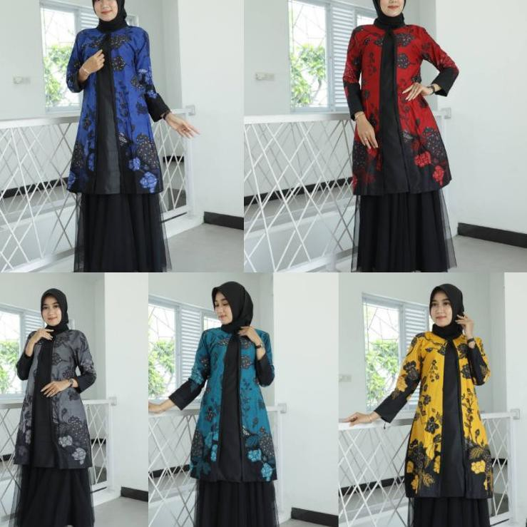 「LVS」 Tunik Batik Guru Wanita • Seragam Batik Guru • Seragam Kerja Kantor • Baju Batik Wanita •Batik