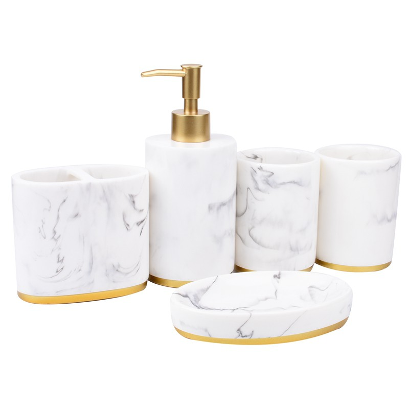 Bathroom Accessories Set 5 Pieces Bath Ensemble Bath Set Collection Marble Shopee Indonesia