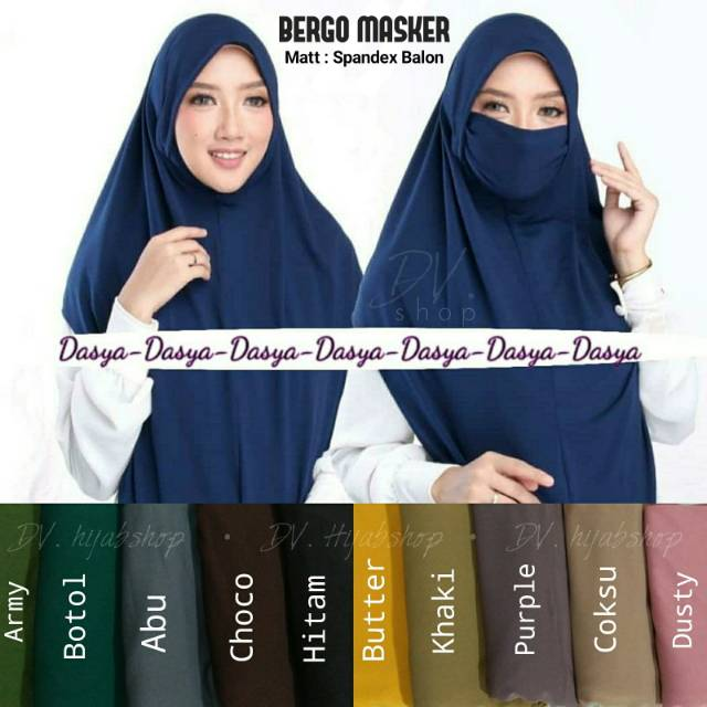 Bergo Masker Spandek Balon By Dasya Scarf Hijab Masker Dasya Shopee Indonesia