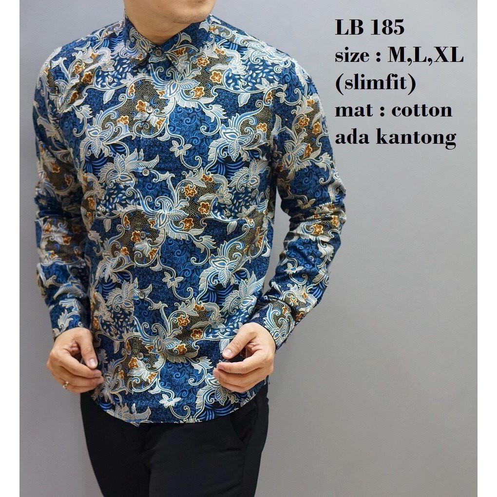 Baju Cb255 Kemeja Batik Slimfit Shopee Indonesia Panjang B 185