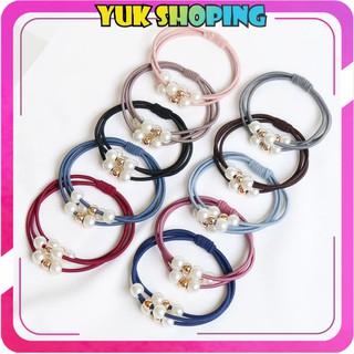 YUKSHOPING R123 IKAT RAMBUT MUTIARA PITA FASHION GAYA KOREA WANITA KARET KUCIR HAIRCLIP HAIRPIN COD thumbnail