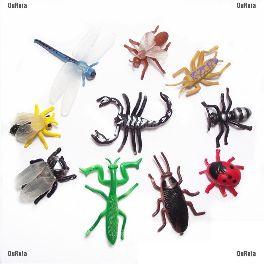 LK 10Pcs Mainan Kumbang Capung Serangga Bahan Plastik Untuk Anak